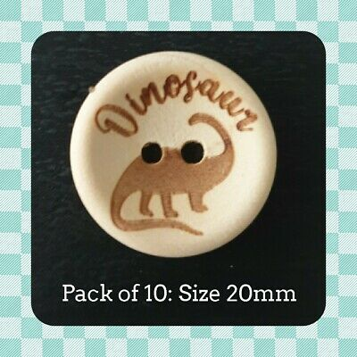 $4.13 • Buy Wood Buttons  'Dinosaur' Design - 20mm - Boy - Baby - Child - Crafting - Sewing