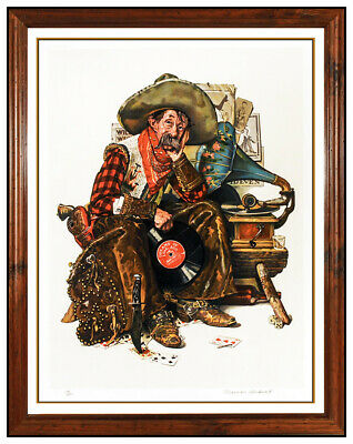 $ CDN3512.07 • Buy Norman Rockwell Saturday Evening Post Hand Signed Lithograph Dreams Of Long Ago