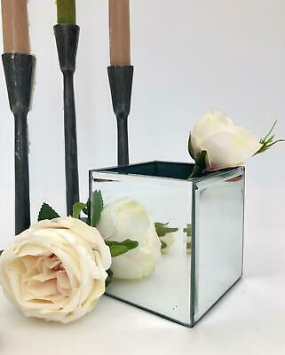 Small Silver Mirrored Square Glass Flower Vase Christmas Wedding Table Decor • 15.99£