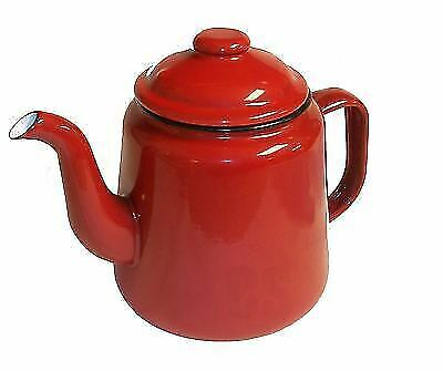 Falcon Enamel Tea Pot Red 14cm Traditional Old Style Camping Travel Picnic Trip • 15.49£