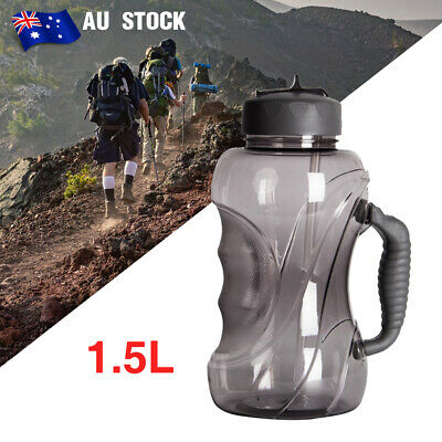 AU36.99 • Buy 1.5L Large Water Bottle Sports Training Straw Drinking Water Kettle With Handle