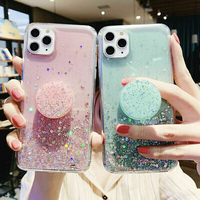 Bling Glitter Soft Case For IPhone 11 Pro 11 X With Pop Up Holder Socket Relief • 4.99£