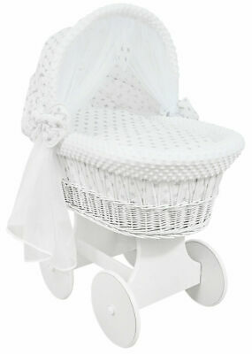 £149.99 • Buy WHITE WICKER WHEELS CRIB/BABY MOSES BASKET+ BEDDING Grey Stars On White/Dimple