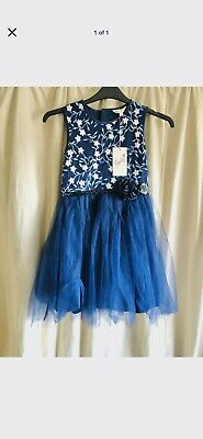 Yumi Girls Party Prom Floral Embroided Dress, Navy Blue, Brand New, 11-12 Years • 16.45£