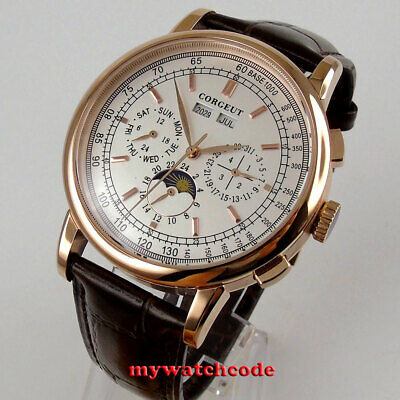 $ CDN99.71 • Buy 42mm Corgeut White Dial Day Moon Phase Automatic Mens Watch Rose Golden Case 204