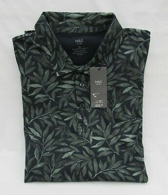 Men's Marks And Spencer Navy And Green Leaf Patterned Cotton Polo Shirt Size Xl • 12.99£