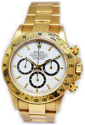 $38500 • Buy Rolex Daytona 18k Gold Chronograph Zenith Inverted Six Watch Box/Papers E 16528