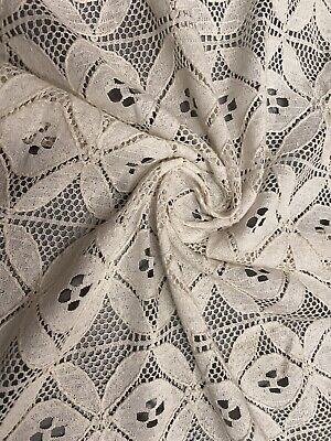 Ivory Crochet Lace Fabric, Per Metre • 4.49£