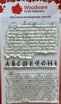 Woodware Clear Stamp Set Text Background By Jane Gill JGS712 • 6£