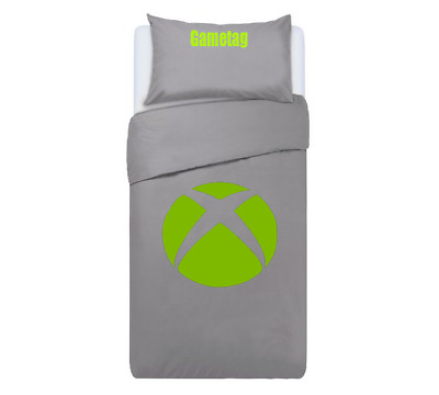 Xbox Themed Console Duvet Cover & Pillows Bedding Set Personalised GREY • 34.99£