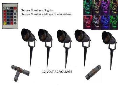 Multi Colour Changing Spot Light 12 V Volt 3W LED IP65 Outdoor Garden  + Spike  • 16.50£