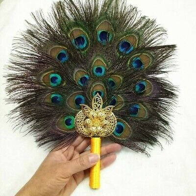 Peacock Marabou Feather Hand Fan Double Side Handmade Retro Pagan Wicca Gift DIY • 17.38£