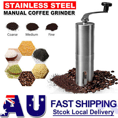 AU23.95 • Buy Stainless Steel Manual Coffee Bean Grinder With Ceramic Burr Hand Mills Travel