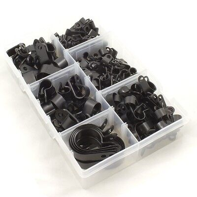 £12.45 • Buy Nylon Black Plastic P Clips For Wire, Cable, Conduit. Assorted Box 200 Pieces