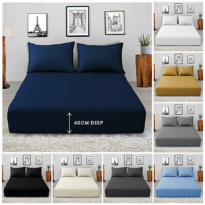 Extra Deep 25cm Fitted Sheet Bed Sheets Single Double King Super King Size • 8.99£
