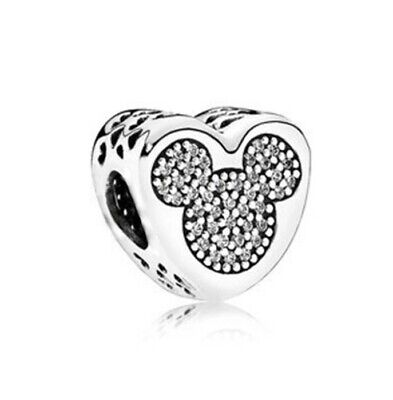 Mickey Minnie Mouse Disney Bead Heart Head Charm With Gift Pouch - Silver Tone • 3.99£