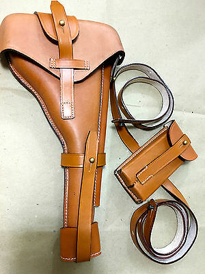 Luger P-08 8  Artillery Holster W. Stock Strap & Magazine Pouch - BROWN • 58.54£