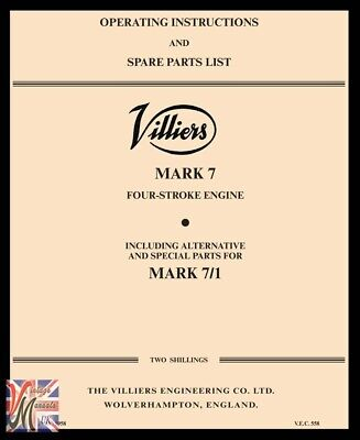 VILLIERS Mark 7 4-Stroke Engine Operating Instructions  & Parts List - 1958 • 5.75£