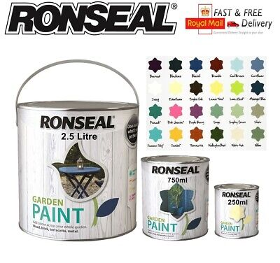 Ronseal Outdoor Garden Paint - Wood Metal Stone Brick - 250,750,2.5L All Colours • 8.99£