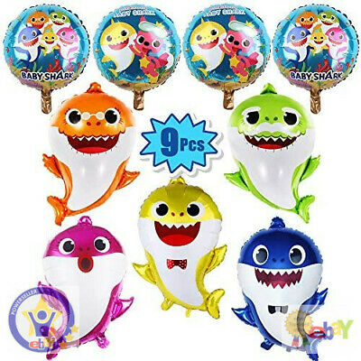 $15.80 • Buy 9 Pcs Baby Shark Foil Balloons Birthday Party Decorations Supplies