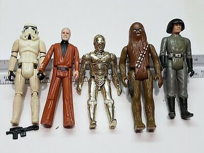 $ CDN61.41 • Buy Lot Of 5 Figures Vintage Star Wars First 12 C3PO Stormtrooper Chewbacca Weapon