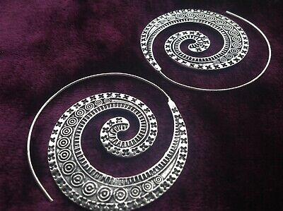 £9.99 • Buy Silver Plated Large Spiral Earrings - Boho, Steampunk, Festival, Ladies Gift