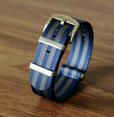 Blue-Grey Premium NATO Watch Strap | 20mm Nylon Seatbelt Fabric | Bond Style • 11.95£