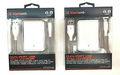 $ CDN27.68 • Buy BlackWeb Dual Port USB Wall Charger White 4.8 AMP Ft Sync Cable Lot Of 2