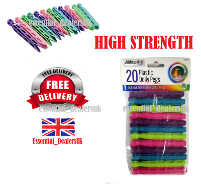 24x Strong Durable Coloured Plastic Dolly Pegs Clothes Laundry Washing Line • 2.99£