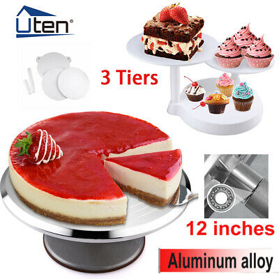 12  Cake Turntable Kitchen Rotation Decorating Revolving Display Stand Mould UK • 6.99£