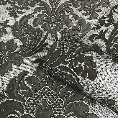 San Remo Black And Silver Damask Wallpaper Heavy Vinyl By Belgravia 6523 • 20.95£