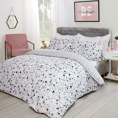£10.99 • Buy Dreamscene Terrazzo Marble Duvet Cover With Pillow Cases Bedding Set Blush Grey