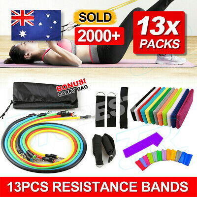 AU14.95 • Buy 13 PCS Resistance Band Set Yoga Pilates Abs Exercise Fitness Tube Workout Bands