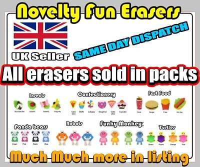 Novelty Fun  Erasers School Rubbers Stationery Characters Same Day Dispatch • 2.25£