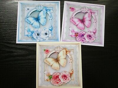 £1.75 • Buy 3 X COLOURED  BUTTERFLIES & FLOWERS  Card Making Toppers & Sentiments