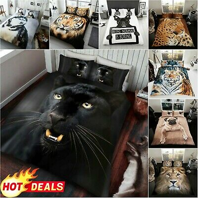 3D EFFECT ANIMAL BEDDING Double Bed Set Duvet Cover Pillow Case Easy Care • 14.99£