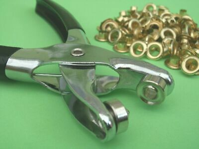 7mm Eyelet Pliers 100 Brass Metal Eyelets Craft Hand Setting Tool Leather Card  • 12.99£