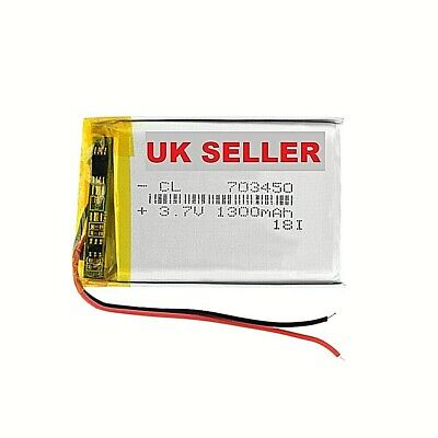 1/2 Pieces 1300mAh 703450 Lithium Li-ion Battery 3.7V 703450 Lipo  • 21.99£