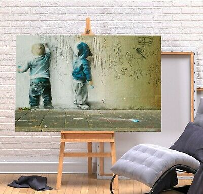 Banksy Kids Painting - Deep Framed Canvas Wall Art Picture Print - Green/multi • 11.99£