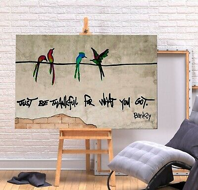Banksy Just Be Thankful - Deep Framed Canvas  Wall Art Picture Print - Green • 11.99£