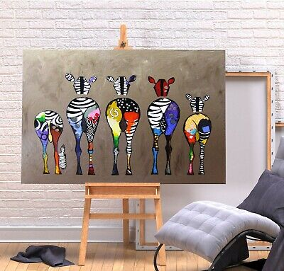 Zebra Bum Print- Deep Frame Canvas Graffiti Wall Art Picture - Multi Coloured • 7.99£