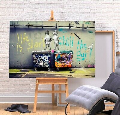 Banksy Life Is Short - Canvas/framed Wall Art Picture Print - Green/multi Colour • 9.99£