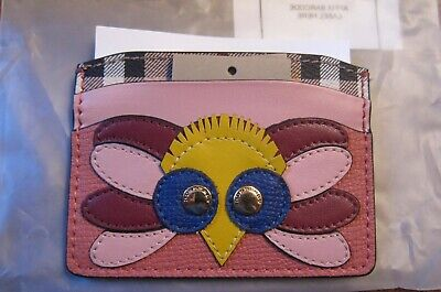 Nwt Burberry Izzy Beasts Owl Leather Card Case Cinnamon Red Color • 173.28£