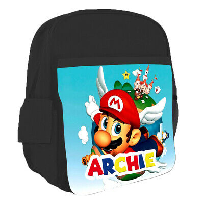 Personalised Any Name Kids Backpack Super Mario Design Childrens School Bag 2 • 16.95£