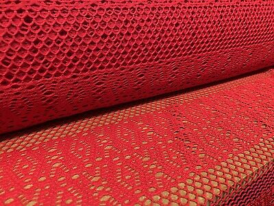 Crochet Fishnet Lace Jersey Knit Fabric, Per Metre - Red • 5.99£