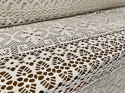 Crochet Fishnet Lace Jersey Knit Fabric, Per Metre - White • 5.99£