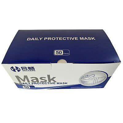 50 Face Masks Disposable High Quality Non Surgical 3PLY UK Mouth Protection Mask • 9.99£