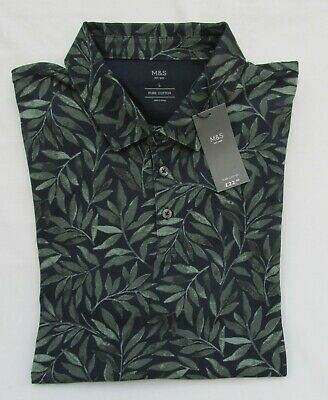 Men's Marks And Spencer Navy And Green Leaf Patterned Cotton Polo Shirt Size L • 12.99£