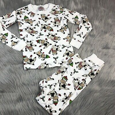 $22 • Buy Hanna Andersson White Xmas Cow Winter Pajamas Size 120 6/7