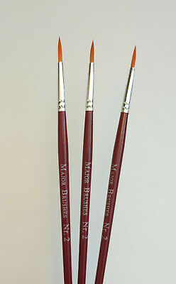 £3.99 • Buy 3 X Size 2 Fine Synthetic Sable Modelling Artist Paint Brushes Model Making Art